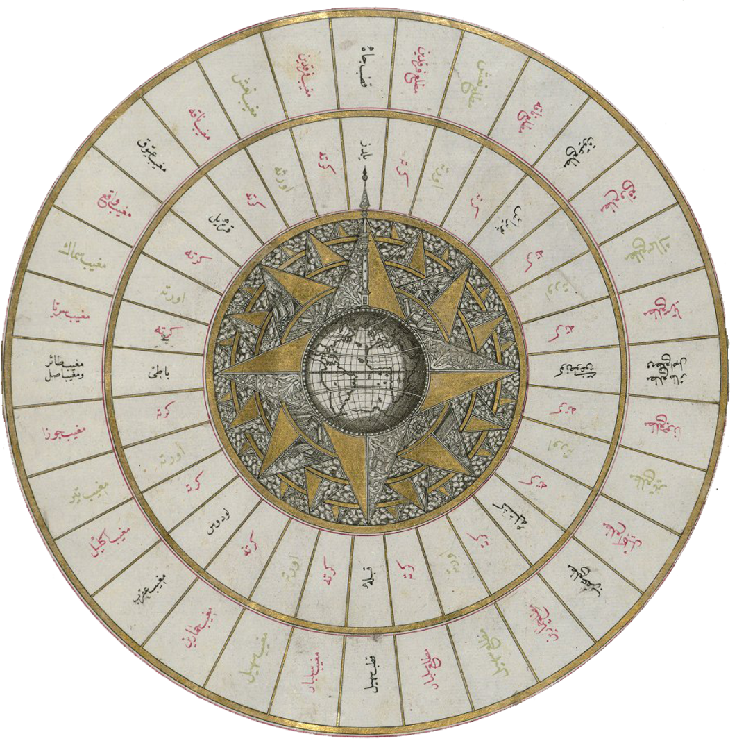 Detail from Pirî Reis, Western hemisphere within a wind rose with the Atlantic Ocean in the center, from the Kitāb-i baḥriye (Book of Navigation), 17th-ce. copy, Istanbul